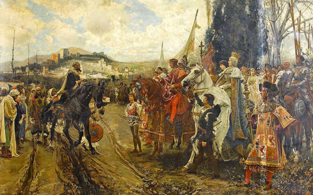 グラナダ陥落 スペイン国王・女王を前に撤去するムハンマド11世